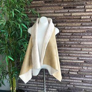 Jou Jou Faux Shearling Open Drape Vest